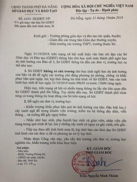 Sở GD&ĐT bị giả mạo văn bản khẩn cho học sinh nghỉ học do bão