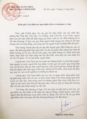 Thủ tướng Nguyễn Xuân Phúc gửi thư chia buồn với gia đình các nạn nhân tử vong trên xe container ở Anh