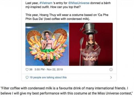 Bộ trang phục lấy cảm hứng từ cà phê của Hoàng Thùy xuất hiện trên báo Mỹ