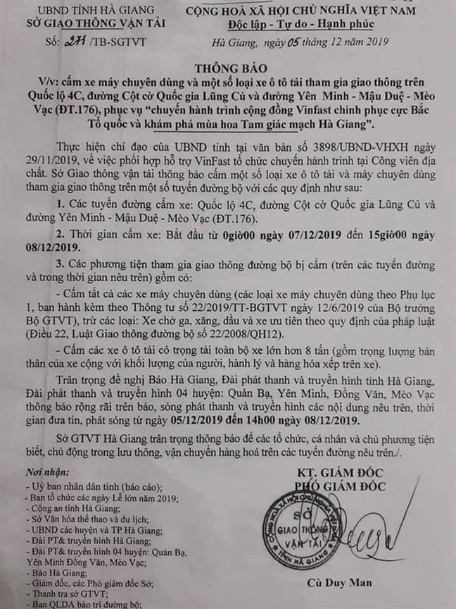 Cam duong 'bao ke' cho doan xe Vinfast: Ha Giang no nguoi dan mot loi xin loi!