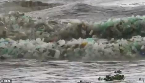 Sóng biển cuốn theo hàng nghìn chai nhựa: Lại một khoảnh khắc ám ảnh về ô nhiễm