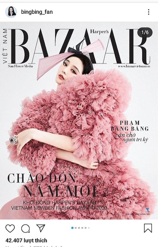 Pham Bang Bang khoe ảnh bìa chụp cho tạp chí Viẹt tren trang cá nhan
