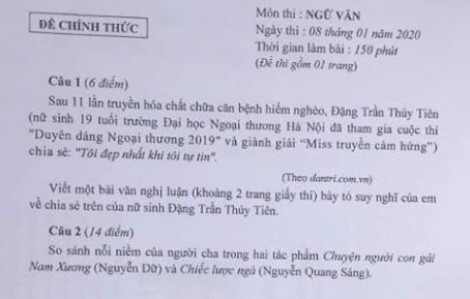 Tranh cãi về đề thi học sinh giỏi văn lớp Chín của Hà Nội