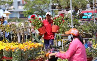 'Chợ nổi' ở Sài Gòn tràn ngập hoa tết