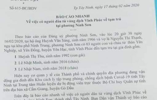 Ba người từ Vĩnh Phúc đến Tây Ninh không phải cách ly